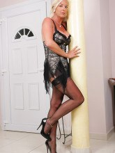 Amazing Astrid pictures - Blonde MILF in black nylons