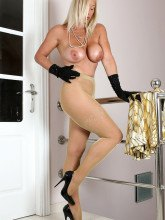 Amazing Astrid in shiny pantyhose