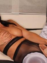 Desyra Noir pictures: Desyra in stockings over pantyhose