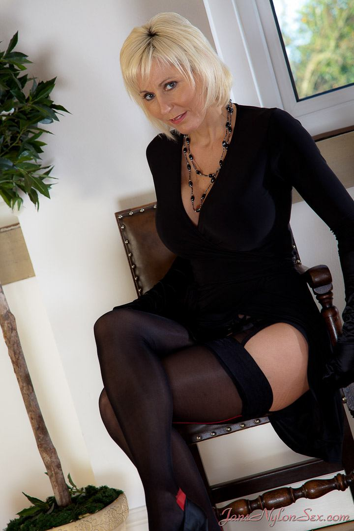 Jan Burton pictures gallery – Black crotchless pantyhose