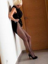 Jan Burton naked in fishnet pantyhose