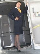 Model Eve photos: Eve as an Air hostess in shiny pantyhose