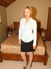 Desirae Spencer - Naughty secretary in shiny stockings