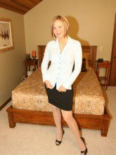 Desirae Spencer - Naughty secretary in shiny stockings