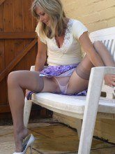 British housewife in white nylons and sheer panties