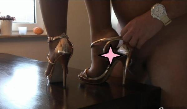 Shoe worship, shoe job video - nylon legs cock tease