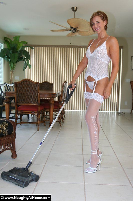 Hot housewife in white sheer stockings