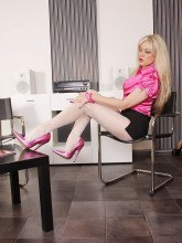 White patterned pantyhose pics - Office lady Alina