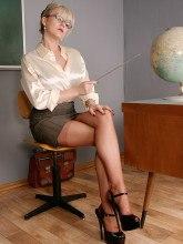Leggy teacher in nylons and high heels