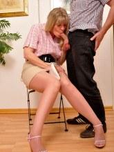 Pantyhose handjob with huge cumshot - Angel Lovette