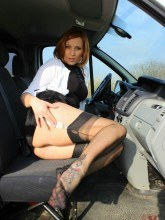 Sexy wife in nylons in a car Vixen footfetish tease
