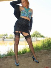 Vixen Nylons free pictures - in nylons & leather outdoors