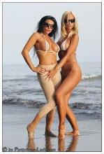 Beach pantyhose tease – Pantyhose Lady Eve & Timea