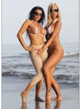 Beach pantyhose tease - Pantyhose Lady Eve & Timea