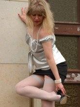 Blonde in white nylon stockings in public Nylon Angel Lovette