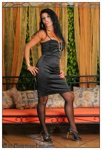 Pantyhose Lady Eve – Black satin dress striptease