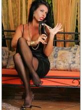 Pantyhose Lady Eve - Black satin dress striptease